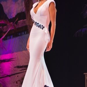 Custom white jersey pageant gown dress small
